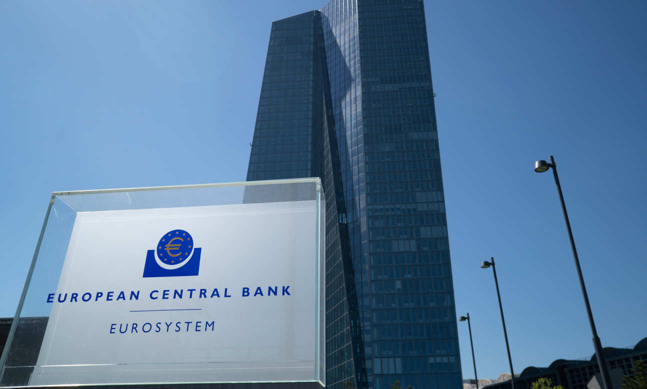 Close up of the sign at the European Central Bank