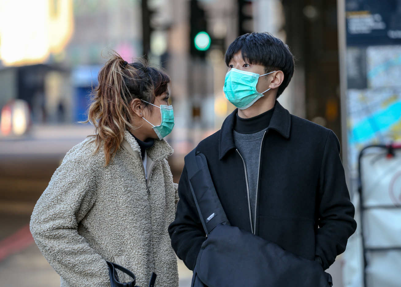 People wearing masks in central London