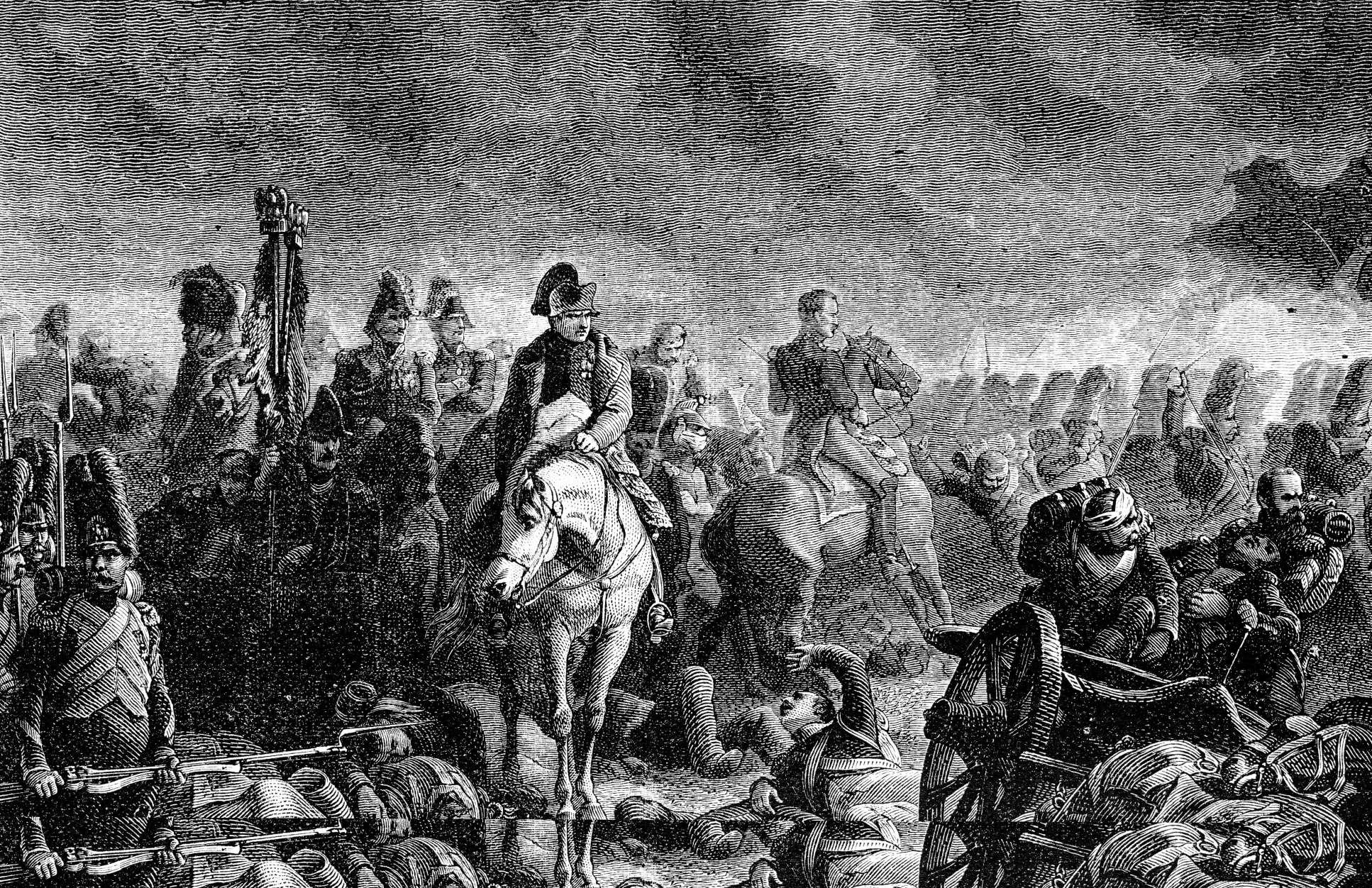 Engraving of soldiers gathering under a cloudy sky
