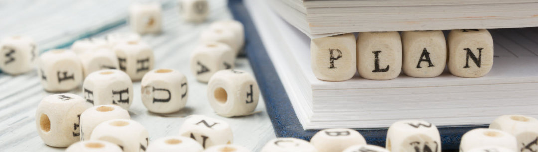 Photograph of dice spelling out the word