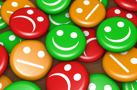 survey smiley faces, happy, sad, indifferent