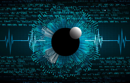 future technology, blue eye cyber security concept background, abstract hi speed digital internet.motion move blur. pixel . wave vector. eyeball. EKG