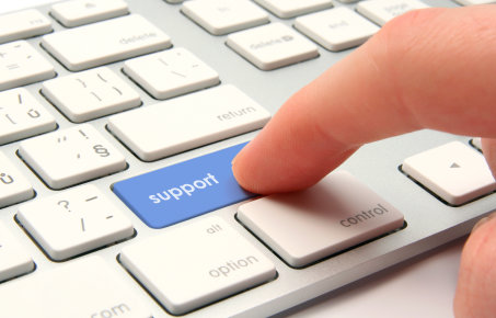 Finger on support button
