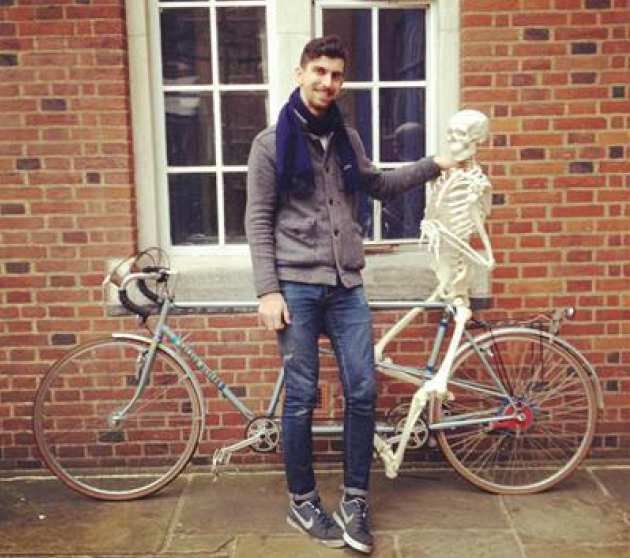 Physics student Kadhim Shubber with his skeleton and tandem