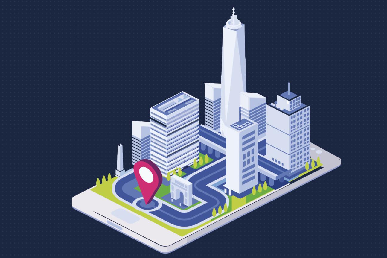A graphic of a futuristic city