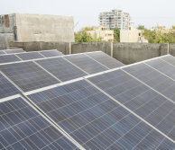solar panels in an urban environment in a developing country