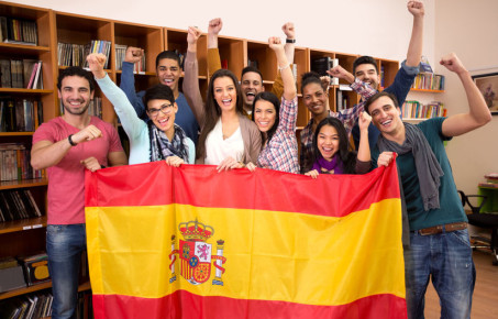 Image of happy students of Spanish