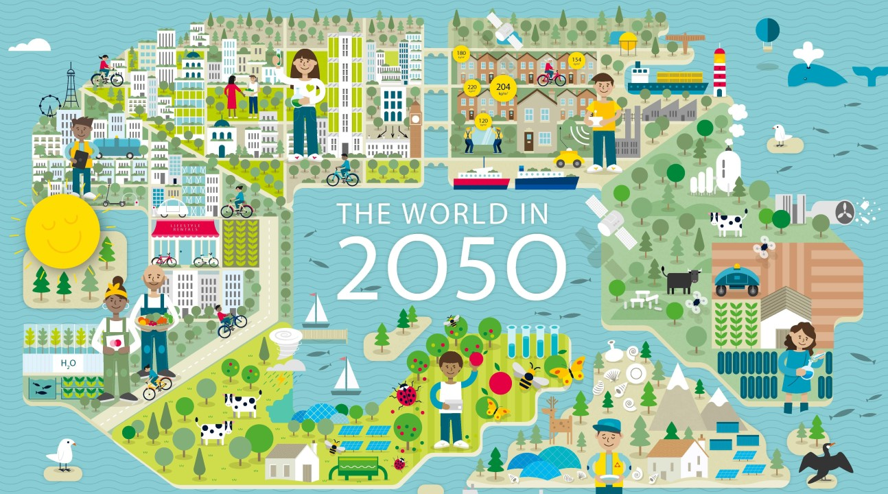 An illustration of green cities with the central caption 'The World in 2050'