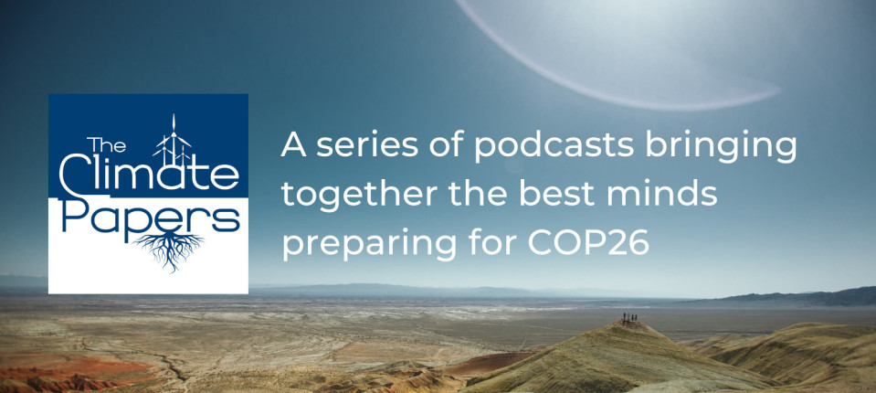 The Climate Papers logo with text 'a series of podcasts bringing together the best minds preparing for COP26'.