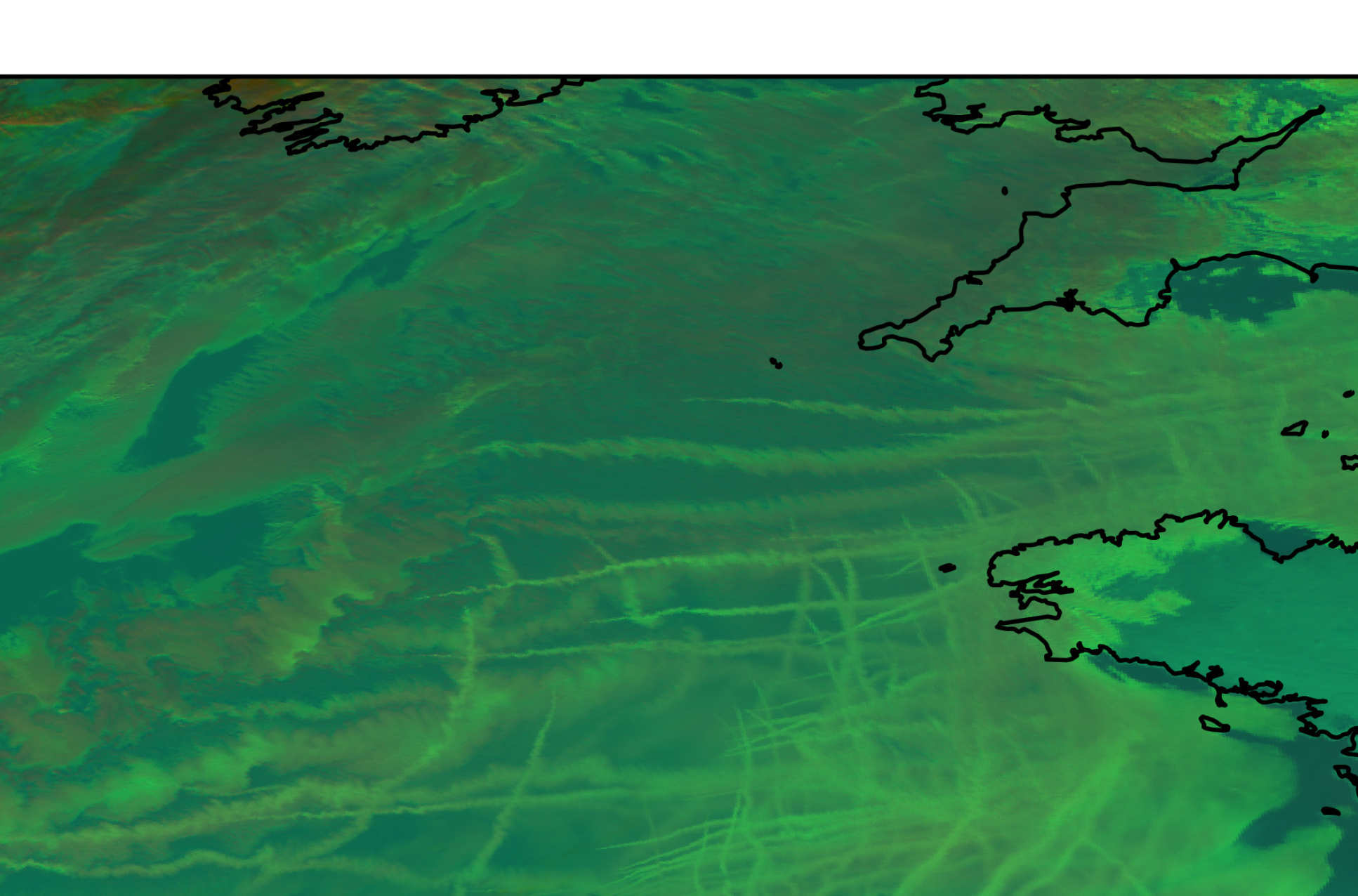 Green-coloured satellite image of clouds and ship tracks off the coast of Cornwall