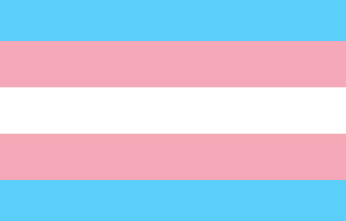Trans pride flag with blue, pink, and white stripes