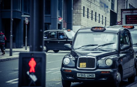 An iconic London black cab