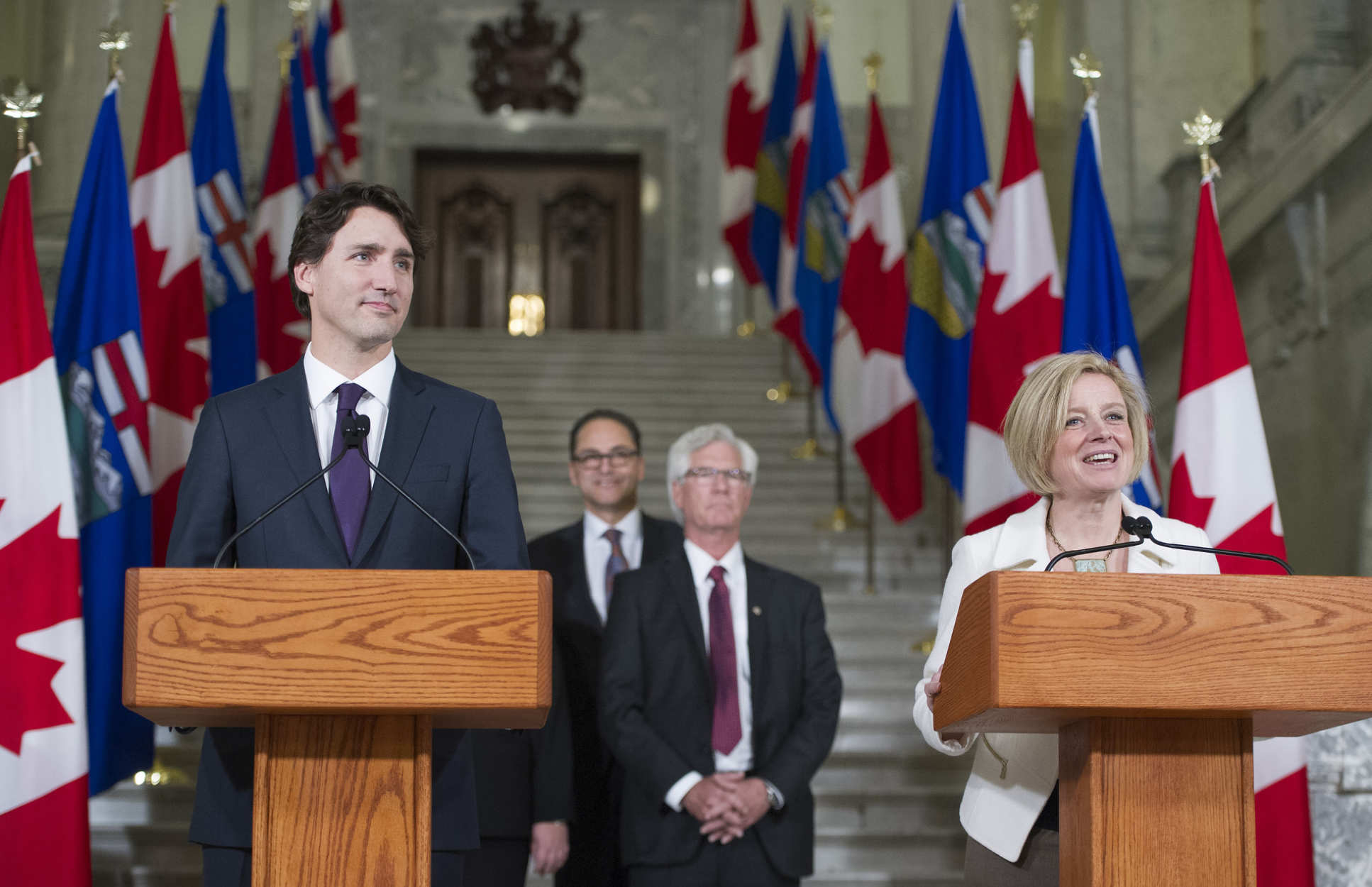 Premier Rachel Notley and Prime Minister Justin Trudeau speaking in Edmonton during the Prime Minister's visit to Alberta in 2016. ((c)Chris Schwarz/Government of Alberta)