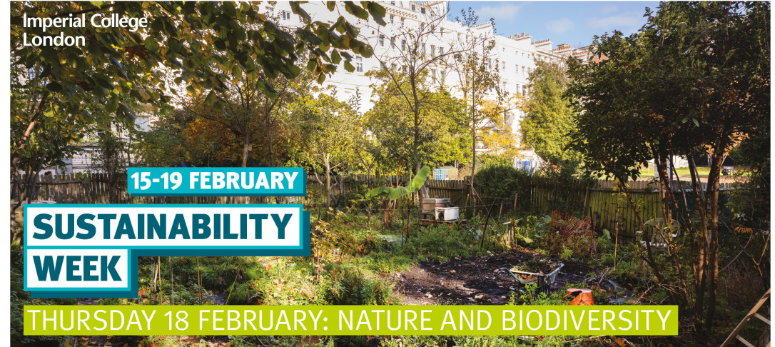Picture of greenery and trees with a view of Imperial College building in background and the title Sustainability Week, Thursday 18 February: Nature and Biodiversity