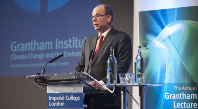Prince Albert delivering the Grantham Institute Annual Lecture