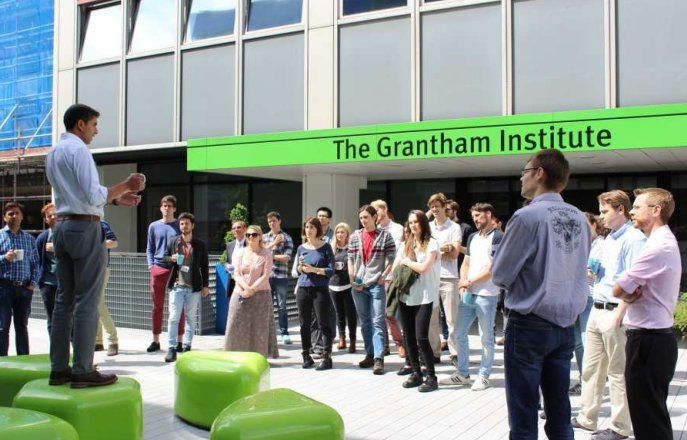 staff standing outside the Grantham Institute