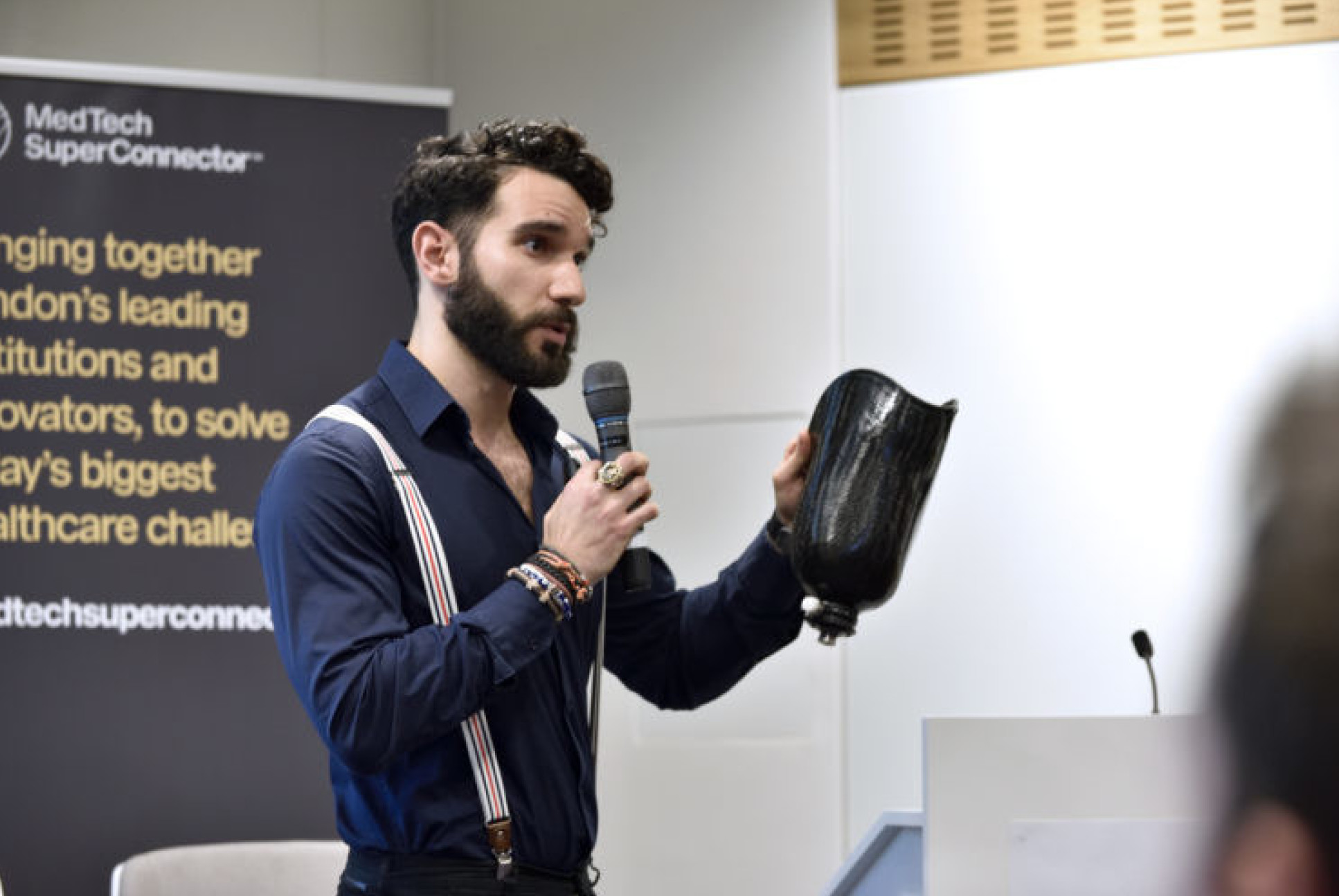 Ugur Tanriverdi, founder of Unhindr, at a MTSC event