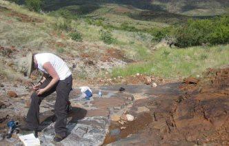 Palaeomagnetic sampling Namibia