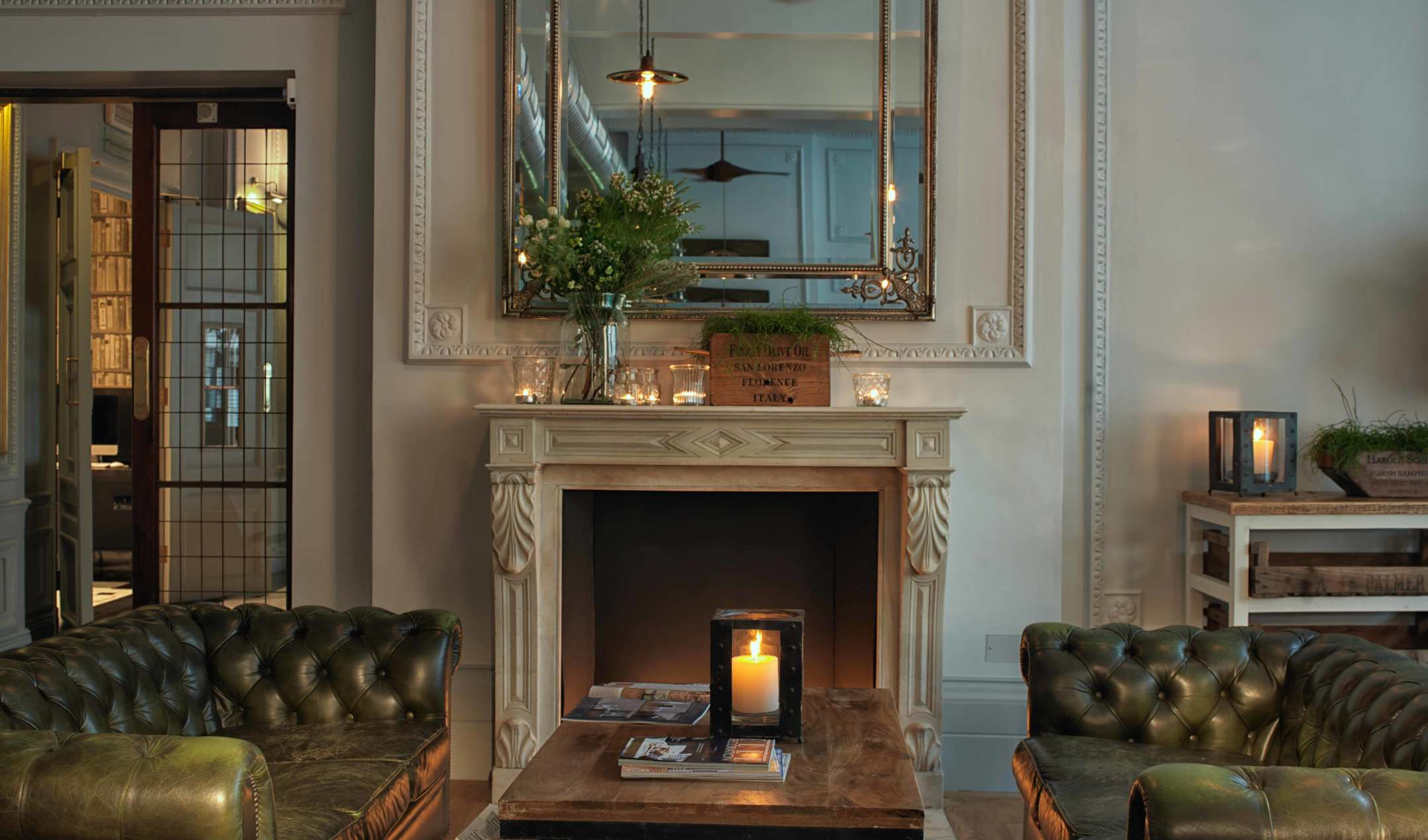 Fireplace at the Radisson Blu Edwardian Vanderbilt Hotel in London