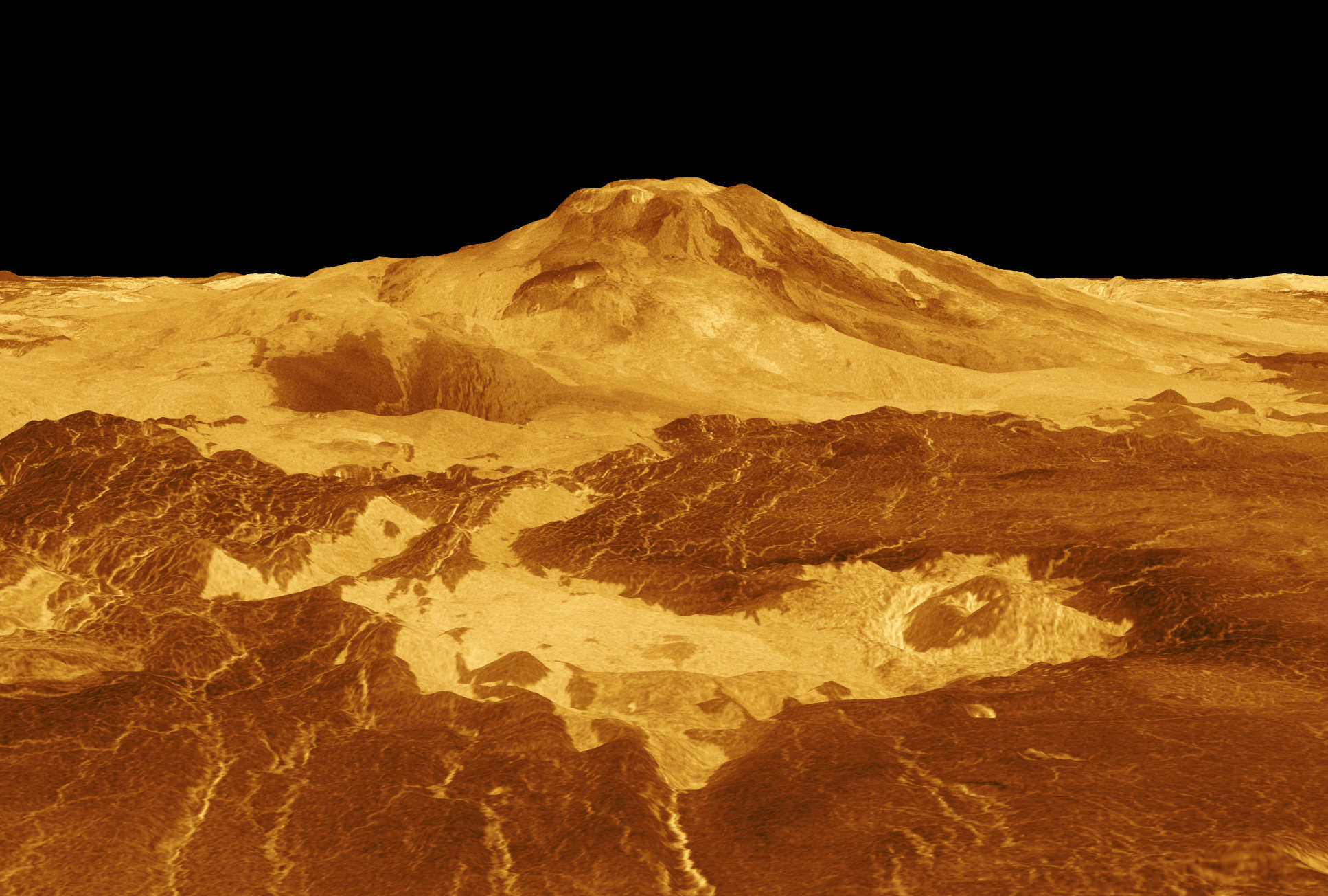 Computer generated image of Maat Mons, a volcano on Venus