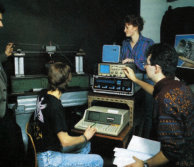 Second year students studying a vibration absorber in the laboratory, 1987-89