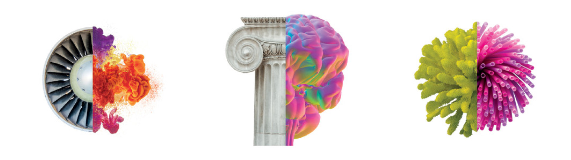 3 split images: jet propeller and coloured chemicals, column and brain, mineral and coral