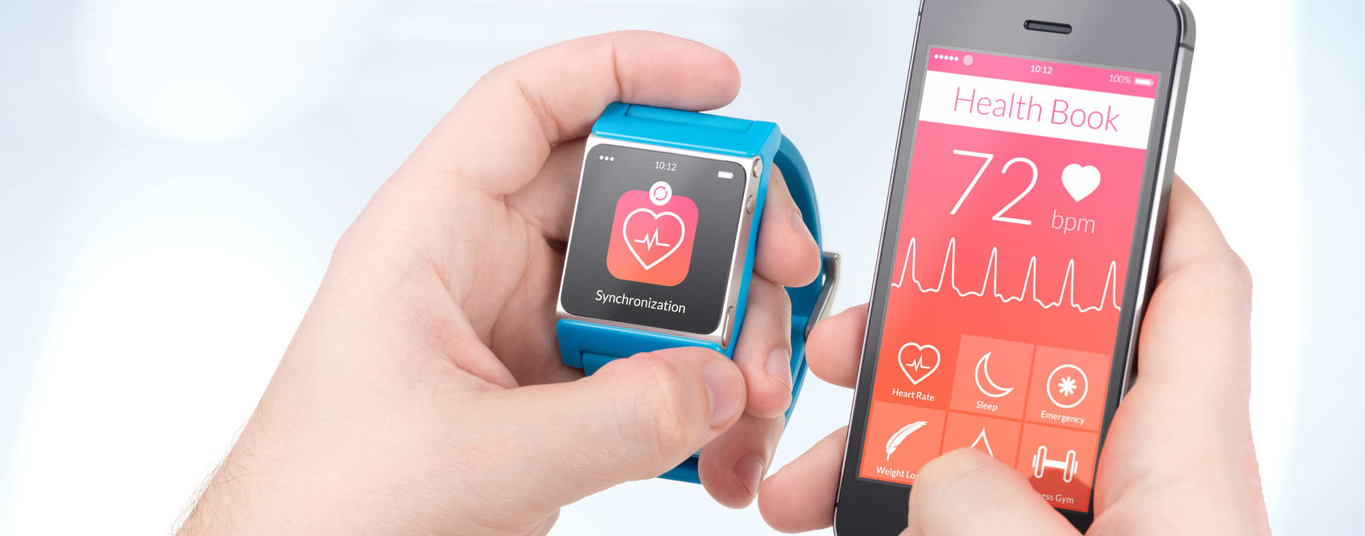 A pair of holds holding a phone and a smartwatch displaying health information