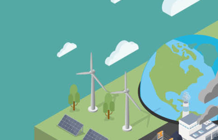 Animation showing globe, wind turbines, solar panels and power station