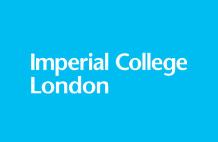 Imperial College Logo - white on light blue background