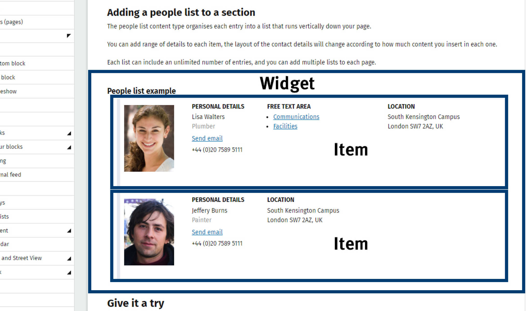Image of a people list on a webpage