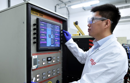 Zhutao at his Multi-x machine