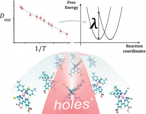 The reorganization energy of intermolecular hole hopping on surfaces