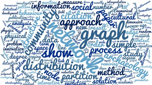 Tag cloud from abstracts of recent work by Tim Evans