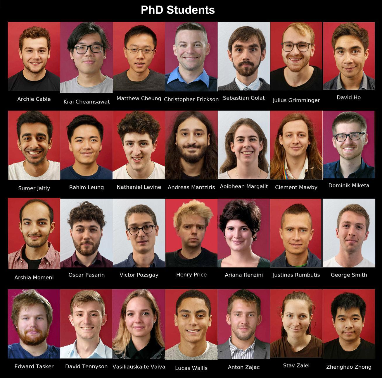 2019-20 Theory PhD Student photos