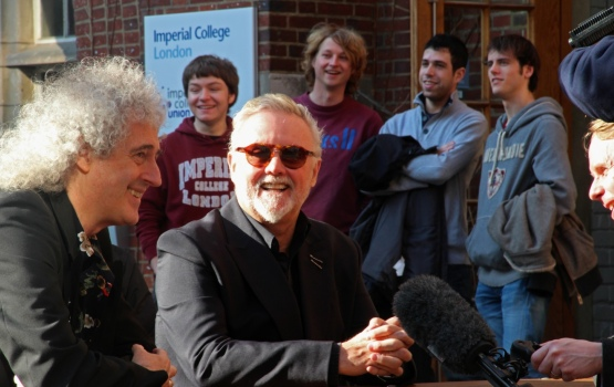 Imperial students look on as Dr Brian May and Roger Taylor take part in media interviews