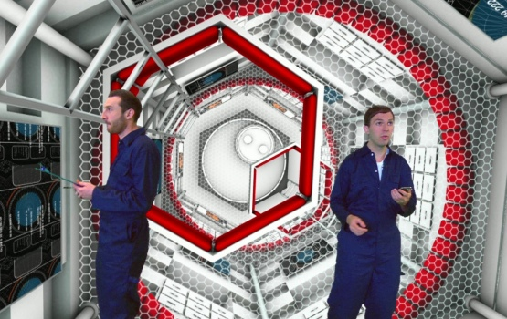 Dr Simon Foster and Martin Archer in a mock spaceship