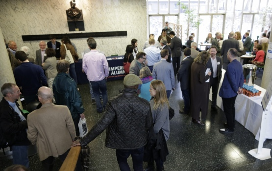 Alumni and guests gather in the Blackett Building