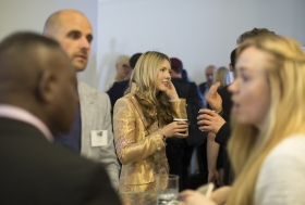 Mingling guests at the launch