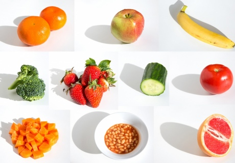 Ten portions of food and veg