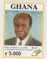 Postage stamp with Prof Allotey's portrait