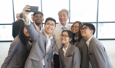 LKCMedicine students take a selfie with the DPM