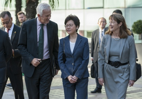 Carrie Lam with Sir Philip Dilley and Alice Gast