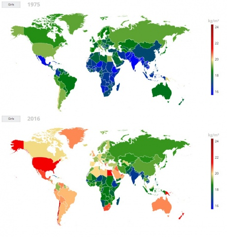 Map showing average BMI of girls across the globe