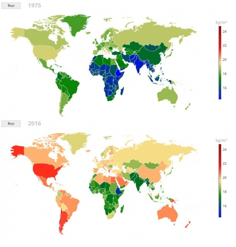 Map showing average BMI of boys across the globe