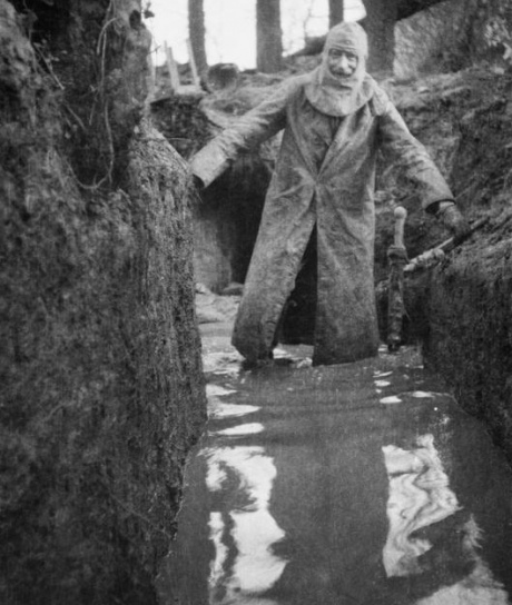 Colonel Philip R. Robertson (Scottish Rifles) in waterlogged trenches at Bois Grenier, January 1915