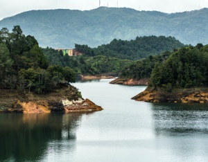 river and forest in Guatape, Colombia.