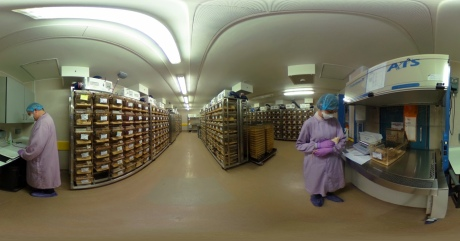 A 360 degree image laid flat of the animal research facility at Imperial