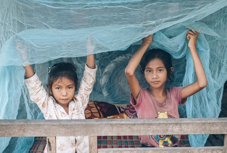 Children in Cambodia with Malaria nets (credit:WHO)