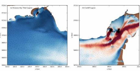 Hydrodynamic simulations modelling tidal lagoon power plants from Dr Angeloudis's work