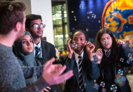 Bubbles are used to explain to visitors how air pollution spreads